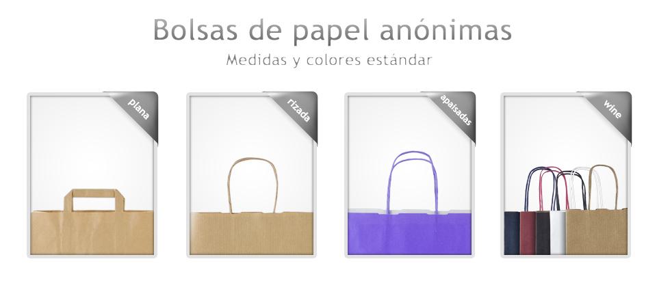 adbcb3078 Bolsas anónimas. Colección de bolsas de papel fabricadas en kraft blanco y  kraft marrón. Disponibles para servir sin impresión o bien personalizadas